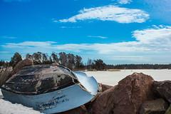 Boat on the rocks (ristozz) Tags: sea snow ice espoo finland boat