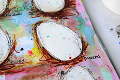 Eggs journal page (Ulixis) Tags: pink blue brown green yellow collage blog spring stencil paint pastel eggs dozen artbook workshops doodled ulixis artofspring christytomlinson junellejacobsen