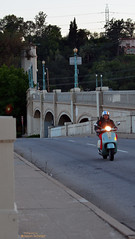 Waverly Approach Glendale-Hyperion Viaduct, Los Angeles (Jason Scheier) Tags: park lighting bridge blue sunset red car river concrete la los village angeles bokeh bridges historic atwater hyperion bridgeway