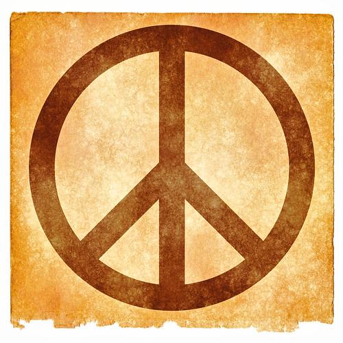 Peace Grunge Sign - Sepia