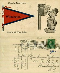 Chust a Line from Wilmington How's All The Folks (Delaware Public Archives) Tags: illustration mail pennant