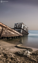.. Old ship (sombek | abdullah hashim) Tags: old city light sea moon seascape beach nature water car long sony hashim abdullah   nex yanbu                    nex5n  vaihcle  expouer