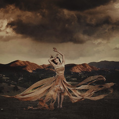 reach beyond riches (brookeshaden) Tags: storm clouds movement mud wind reaching rags failure trying dirt success burlap fineartphotography darkart conceptualphotography brookeshaden