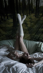 knees and toes (peculiarnothings) Tags: flowers selfportrait socks forest self bed legs pearls pillow tapestry