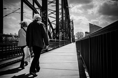 On the bridge (maggusw) Tags: street fuji frankfurt streetphotography ostend ezb osthafen deutschherrenbrcke x100s