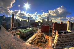 New construction in Detroit (Notkalvin) Tags: opportunity rooftop skyline canon michigan detroit wide progress fisheye viewfromabove motown motorcity newconstruction notkalvin