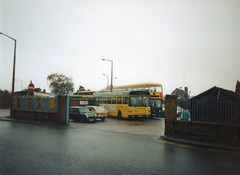 Eastern National Colchester depot yard exit early 90s (alderju) Tags: easternnational leylandolympian leylandnational