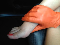 IMG_4532 (heellover91) Tags: red orange woman sexy feet girl car leather foot toes soft erotic driving touch gloves massage feeling rub kidskin