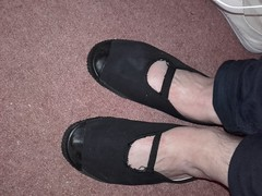 Strapy plimsolls- Home made (eurimcoplimsoll) Tags: plimsoles plimsolls slipon gym gymnastic shoes canvas daps elastic mary jane