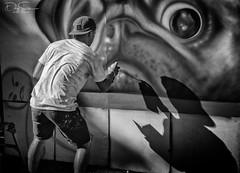 Graffiti artist in shadow (Daz Smith) Tags: dazsmith canon6d bw blackwhite blackandwhite bath city streetphotography people candid canon portrait citylife thecity urban streets uk monochrome blancoynegro art graffiti upfest 2016 spray paint artist shadow pug dog painting mural