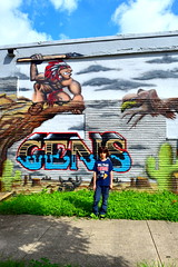 Houston graffiti (Cristali Designs) Tags: houston texas murals shreddi bike squeleton pink artwork artist creative blue streetart graffiti cristalidesigns urbanart wallart murales colour colorful