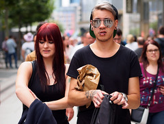 Double trouble (graveur8x) Tags: couple boy girl touble cool sunglasses candid street portrait expression strase deutschland streetphotography dof frankfurt germany redhead microfourthirds m43 olympus olympusm45mmf18 olympusem10markii 45mm people city tattoo