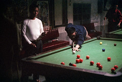 33-269 (ndpa / s. lundeen, archivist) Tags: nick dewolf nickdewolf 33 reel33 color photographbynickdewolf 1970s 1972 fall film 35mm winter republicofchina taiwan taiwanese china chinese 1973 snookertable snooker billiards people man men shootingsnooker game playingagame snookerballs poolhall snookerhall shootingpool locals