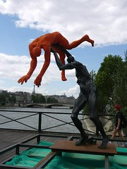 Bronze (crystalseas) Tags: paris france outdoor danielhourd bronze sculpture eiffeltower art water river bridge