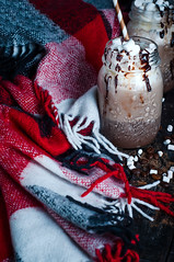 Cup of hot cocoa or coffee (lyule4ik) Tags: xmas christmas whipped coffee vanilla cocoa spices scarf rustic hot drink cream photography mocha photo cafe table dessert caffeine sweet teal beverage aroma life flavor holiday latte anise star cup breakfast chocolate artisan spoon relaxing mug season grey candy espresso wood up still close winter cappuccino wooden background comfort