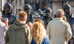 Luckily the Beatles were 2,5 meter tall... (Bart Weerdenburg) Tags: liverpool docks albertdock beatles thebeatles statue tourism tourist tourists people