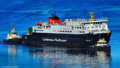 Scotland Greenock arriving at the ship repair dry dock to have her hull fixed after an accident last week large car ferry Hebrides 1 October 2016 by Anne MacKay (Anne MacKay images of interest & wonder) Tags: scotland greenock ship repair dock tugs caledonian macbrayne car ferry hebrides passenger xs1 1 october 2016