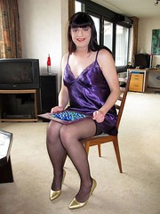 Ready for Easter (Paula Satijn) Tags: purple satin silky nightie legs stockings pumps easter tgirl girl gurl highheels