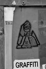 This : UWP33 : Graffiti (damonabnormal) Tags: urban blackandwhite bw streetart art philadelphia graffiti march nikon sticker king 33 stickers urbanart pirate philly graff westphilly 215 slaps urbanite stickergraffiti uwp citystickers underwaterpirates 2013 phillystreetart wphl d7000