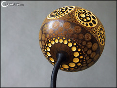 Floor lamp I - Florescence (Calabarte) Tags: original light shadow sculpture home lamp circle design hole handmade geometry unique circles craft holes exotic gourd sphere lampa handcrafted fractal geometrical lampy luxury exclusive artisan craftsmanship intricate perforation luminary calabash florescence art tykwa floor lamp calabarte gourd