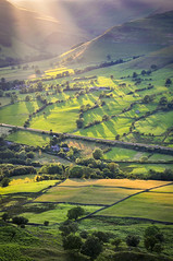 Edale (Keartona) Tags: summer england sunlight colour green english field rural landscape evening countryside shadows patterns derbyshire hills sunbeams edale mamtor castleton