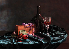 What Makes Life So Sweet (panga_ua) Tags: life light red stilllife black color art love beauty composition canon reflections spectacular lights necklace beads bottle artwork shadows darkness wine artistic availablelight redrose deep lavender ukraine poetic velvet creation imagination natalie wineglass redwine picturesque sheen chiaroscuro shining arrangement tabletop bodegon natu