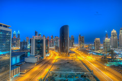 Business Bay Tower (vineetsuthan) Tags: blue roof dubai photographer uae hour bluehour hdr topping rooftopping vineetsuthan dubaihdrphotographer