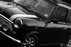 Rover Mini - Dutch angle stylee (Chrisipe, still very busy :( back soon!) Tags: bw dutchangle odc canonef50mmf14usm rovermini canon550d ourdailychallenge tiltingthecamera mytaxisrunningout roverminibritishopenclassic1992
