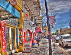 Heart of Valencia Street, HDR (Walker Dukes) Tags: sanfrancisco california city pink blue windows red sky people urban white signs black color building green art cars car yellow tattoo clouds photoshop canon balloons concrete gold cityscape purple symbol infinity neighborhood sidewalk photograph tarot highdefinition sfbayarea fortuneteller taqueria parlor wispy palmreader photomatix highdefinitionresolution canons95