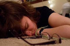 Asleep (Kitworks) Tags: woman girl carpet glasses floor sleep asleep