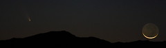 Moon and Comet Setting Panorama (Az Skies Photography) Tags: arizona sky rio skyline night canon skyscape eos rebel az rico comet arizonasky 2013 riorico panstarrs rioricoaz t2i arizonaskyline arizonanightsky canoneosrebelt2i eosrebelt2i arizonaskyscape cometpanstarrs