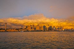 _ASC5646 (amblerpix) Tags: sunset horizontal reflections day dusk sydney australia newsouthwales balmain sydneyharbour stormclouds sparklingwater sunsetcolours sydneycityskyline