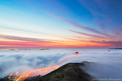 Fire on Fog (Jared Ropelato) Tags: sanfrancisco park bridge jared nature fog sunrise landscape photography bay outdoor environmental photograph goldengate sanfran enviro 2013 ropelato ropelatophotography