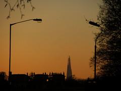 Evening over Blackheath (shaggy359) Tags: houses sunset orange house tree lamp silhouette evening blackheath silhouettes lamppost shard