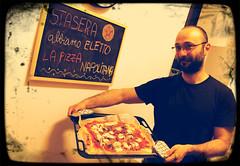 """I love you like a fat kid loves pizza!"" Felicia :))) (♪ fotodisignorina ♪ Felicia Violi PHOTOGRAPHY) Tags: food digital canon photography eos rebel reflex dof bokeh ham pizza basil dep blackboard mozzarella speck t3i pizzaiolo 600d"