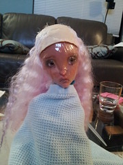 Purple and Pink done (Doe Eyed) Tags: mohair lyse bjd lillycat customwig cerisedoll