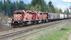CPR Hotshot April 23, 2013 (arrowlakelass) Tags: canada train bc cpr freight hoppers castlegar hotshot sd402 tankcars sd60 cp5919 cp6053 cp6228 p1040653006