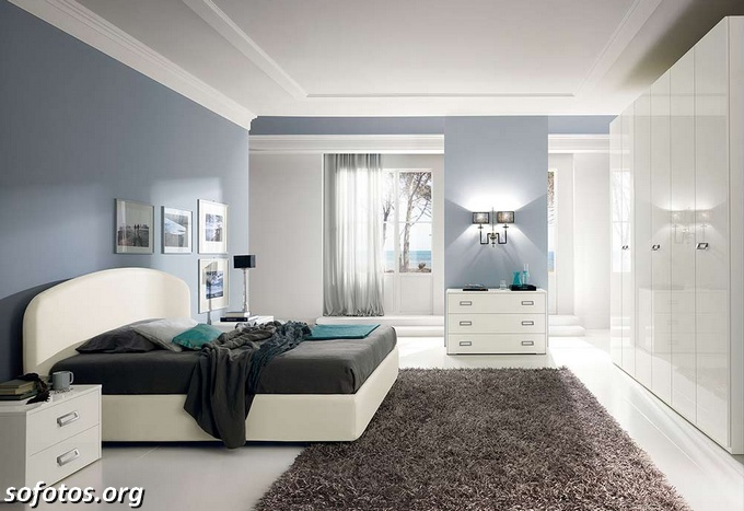 Quarto Casal Azul Marinho E Branco ~ Fotos de quartos de casal planejados e decorados