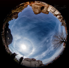 22° sun halo over meteora greece (dtsortanidis) Tags: sun tree church weather clouds photography 22 optical halo atmosphere 360 fisheye greece sundog circular degrees dimitris meteora phenomenon dimitrios fullsky tsortanidis