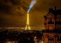 Eiffel Tower at night viewed from hotel room - Paris France (mbell1975) Tags: from light sunset mars paris france tower night de french lights hotel evening la ledefrance tour dusk room eiffel eiffelturm champ viewed