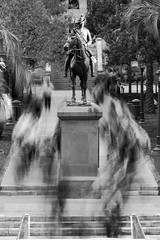 Monday Morning (Fear_Through_The_Eyes) Tags: street city longexposure morning people bw statue brisbane walkabout cbd