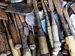 old tools (spinster cardigan) Tags: old history texture japan work japanese woodwork diy wooden handmade antique labor traditional union workinprogress rusty craft skills tools used pile workshop creativecommons labour strike aged underconstruction carpentry apprentice workman carpenter bluecollar skill  skilled workforce oldtools    rustytool      spinstercardigan