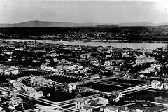 Portland, 1880. (jackonflickr) Tags: city blackandwhite church oregon river portland layout historic steeple willamette notmyphoto