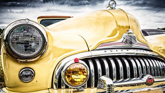 Yellow and the Thunder (Convicted Melon) Tags: auto old light shadow sky classic car yellow clouds canon vintage emblem buick 8 historic chrome utata hood 5d eight super8 canon1740l supereight 2013 5dmarkiii