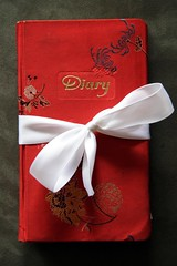 Red Diary Book with White Bow (Chance Agrella) Tags: old floral thread embroidery diary books used worn bound embroidered binding tattered sewn