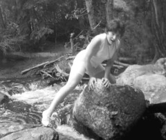Doggie removal, 1963 (clarkfred33) Tags: blackandwhite nature monochrome photoshop vintage stream 17 dripping 1963 soaked vintagephoto wetlook wetfun wetcamera wetclothes wetadventure