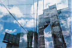 Multiple exposure 2 (David Gabriel Moreno) Tags: city sky building film clouds construction cambodia day kodak bluesky billboard multipleexposure phnompenh