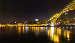 Porto at Night (LichtGespiele) Tags: bridge bright water river sea city cityscape cityphotography night nightshot nightscape nightphotography landscape land portugal europe reflections reflection black yellow blue stars architecture arches arch ponte lichtgespiele stefanbaumann shadows