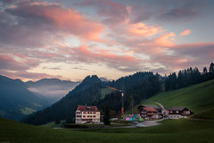 Ghof (iSteven-ch) Tags: ghof mountain fog grison sunset forest prttigau farmhouse eos6d graubnden farm fleli canon valzeina clouds switzerland ch trees hdr