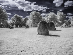 Hilly Fields Park (blackwoodse6) Tags: canon 720nm ir infrared london england uk park brockley lewisham se4 se13 trees white foilage blue clouds outdoors standingstones stonecircles hillyfieldspark southlondon southeastlondon londonparks bluesky canong10